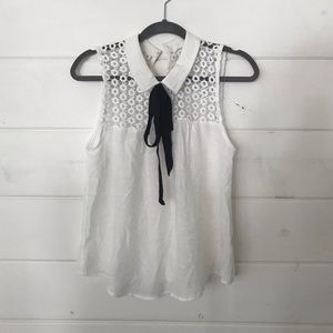 OWO EM adorable white lace blouse with black tie